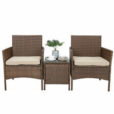PE Rattan Wicker Chairs with Cushions 3 Pieces Patio Bistro Furniture Sets
