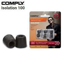 Comply Foam T-100 Isolation 3 Pairs In-Ear Earphone Tips Medium Black LE