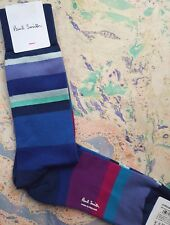 Paul Smith Mens English Socks Split Stripe Navy IndigoBlue K496 1-Size CottonMix