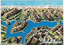 Lago di Lugano Switzerland Italy Aerial Render View Oversize vintage postcard J