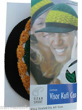 Titan Cotton Visor Kufi Cap Jamaica Rasta Style Stretch Hat