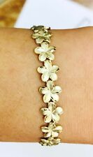 14k Solid Yellow Gold Pre Owned 5.28 GM Flower Bracelet 7.00 Inches