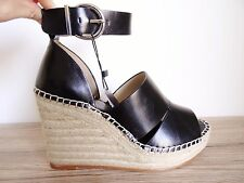 ZARA BLACK JUDE WEDGE SANDALS  WITH ANKLE STRAP SIZE UK 8 EU 41 USA 10