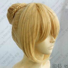 Fate Stay Night Saber Cosplay Outfit Wig Light Gold/Blond Clip Ponytail Hairnet