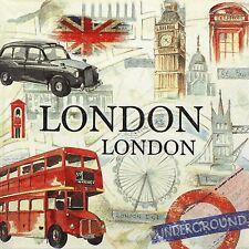 Papel 4x Servilletas-Londres Bandera De Taxi Autobús Big Ben-Para Fiesta, Decoupage Craft
