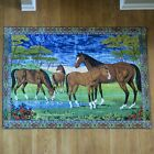 Vintage 1970 Velvet Horses in Field Hanging Wall Tapestry 69 x 48 Pond Italy