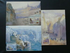 paintings Sosthene Weis set of 3 maximum card Luxembourg 1991