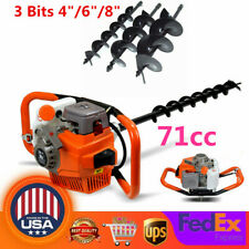 71cc Gas Powered Post Hole Digger Earth Auger Fence Borer Air Cooled 3 Bits