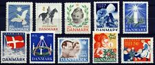 DENMARK 1940-49 . Christmas Seals (10 Seals) . Mint Never Hinged