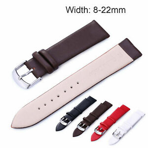 8-22mm Genuine Leather Strap Sport Watch Band with Stainless Steel Metal Clasp
