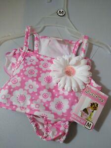 "Lulu Pink Dog Bikini Medium Pink and White 14""-15"" Adorable New with Tags"