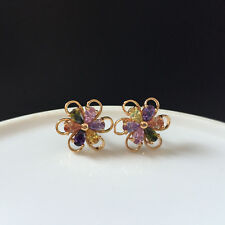 Multi-color Pear Cubic Zirconia CZ Flower Stud Earrings Yellow Gold Plated Gift
