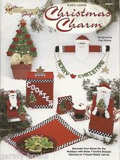 Christmas Charm Plastic Canvas Patterns Fran Rohus Coasters Tissue Holder + NEW