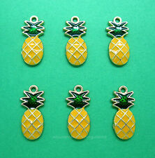 6 pcs Goldtone Pineapple Enameled Charms Pendants 20mm x 10mm x 2mm Hospitality