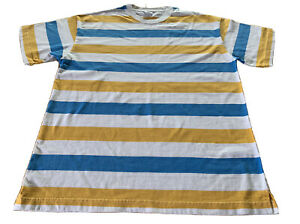 Urban Outfitters T-Shirt Blue & Yellow Striped Short Sleeve Men's Small