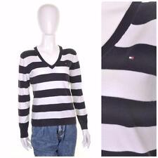 TOMMY HILFIGER Retro 90's Blue White Stripe V Neck Jumper/Sweater/Top M 12