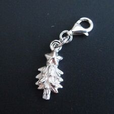 Sterling Silver Bracelet Charms-Silver Christmas tree with Star- Add on Charm