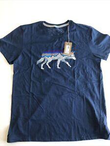 Women's Patagonia Back For Good Crew T-Shirt Stone Blue w/Wolf Medium (077)