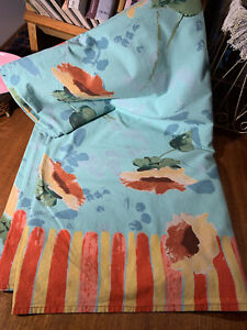 """Vintage Hand Print Tablecloth~Abstract Flowers Huge 104"""" By 60""""~Vibrant"""