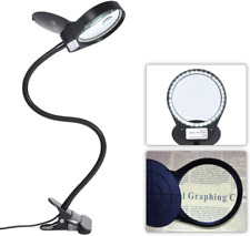 Tomshine Dimmable LED Lighted Magnifying Glass Lamp Mental Clamp 3X/10X Full Spe