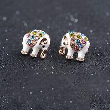 Roxi encantos Lindos Aretes Elefante Blanco/Rosa Dorado De Lujo
