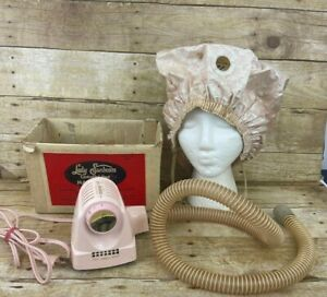 Vintage LADY SUNBEAM Controlled Heat Pink Bonnet Hair Dryer with Box