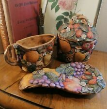 More details for vintage rare duncan enterprises us studio pottery tea set, jug, rest & sugar pot