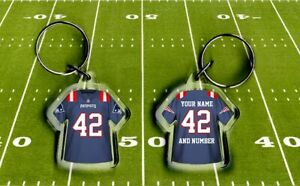 NEW ENGLAND PATRIOTS shirt jersey KEYRING, Fully personalised name & number NFL