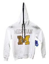 Michigan Wolverines White Mediumweight Sweatshirt with Hood Size M - NWT $49.99