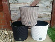 HQ Flower Pot Plant Rattan Style Planter Flower Plants pots 30 cm Beige GARDEN