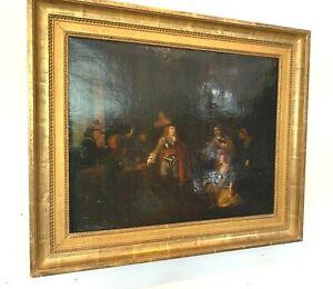 Huile sur toile Scène animée de personnages XIX siècle
