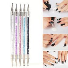 Nail Art Brush Dotting Tools 2 Way Nail Art Sculpture Pen Silicone Carving Craft
