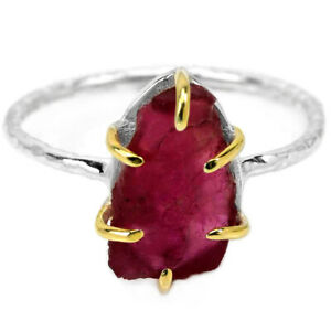 GENUINE AAA PINK RED RUBY ROUGH STERLING 925 SILVER 2-TONE RING SIZE 8.25