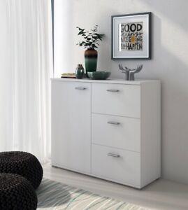 Kommode Sideboard Stauraum Genf 47101W1 Weiß matt m. 3 Schubkästen