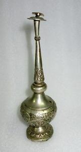 Vintage Old Matel Fine Handcrafted Engraved Lacquer Rose Water Sprinkler Bottle