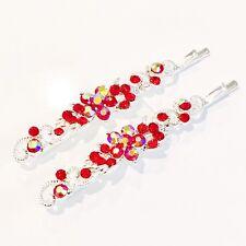 USA Bobby Pin Rhinestone Crystal Hair Clip Hairpin Elegant Flower RED 46-7