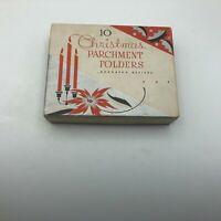 Vintage Christmas Parchment Folders Empty Box Decor Poinsettia Candles Holly  W6