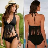 Women's Tassel  Bikini Set Swimwear Monokini Push Up Padded Bra Bathing Swimsuit