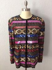 Vintage Laurence Kazar Silk Multi Color Sequin Beaded Trophy Jacket Sz Medium M