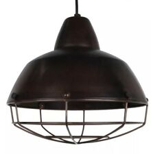 Harbour Hanging Metal Pendant Light Cage Antique Brown Industrial Lampshade