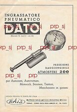 INGRASSATORE PNEUMATICO DATO RAIS TORINO AUTO MOTO SCOOTER PUBBLICITA 1950