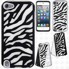 For iPod Touch 6 6th Gen Hybrid Zebra Fusion Silicone Case Cover +Screen Guard