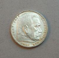 1 Silbermünze 5 Mark Münze Deutsches Reich Paul von Hindenburg  1936-1939