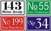 Hausnummer-Schild  Alu weiß einbrennl. Wunschtext-Neu