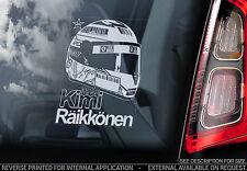 Kimi Raikkonen-F1 Voiture Fenêtre Autocollant-FERRARI Casque Formule 1 Autocollant Signe V02