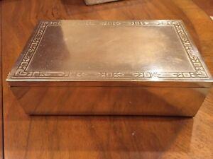 Humidor Box, Art Deco sterling silver decorated bronze