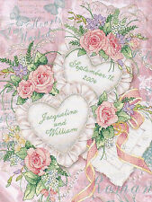 Cross Stitch Kit ~ Dimensions Two Hearts United Floral Wedding Record #3217