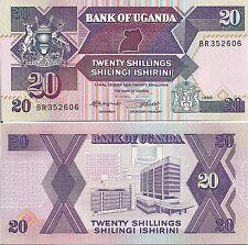 Uganda P29a, 20 Shilling, map / original Bank of Uganda  - see UV image UNC 1987