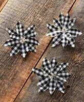 Set of 3 White & Black Buffalo Plaid Poinsettia Christmas Tree Clip Ornaments