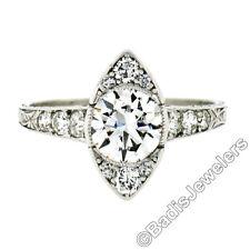 Antique Art Deco Platinum VVS F 1.48ctw Round Diamond Solitaire Engagement Ring